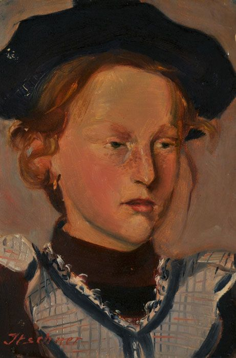 Karl Itschner - Rothaariges Mädchen mit Béret, um 1896, Öl auf Papier, 26 x 17,5 cm.