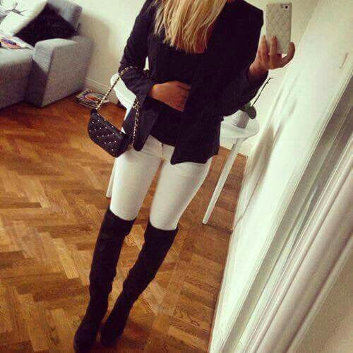 Black overknee boots, white pants, black blazer jacket, chique outfit,