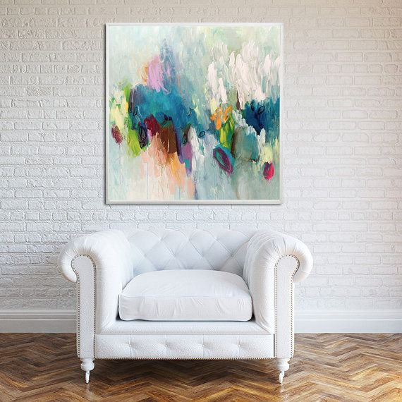 GICLEE print, abstract painting up to 40x40, extra large wall art, Abstract Art, canvas art, Blue, aqua Title: Clowdy This is a limited edition fine