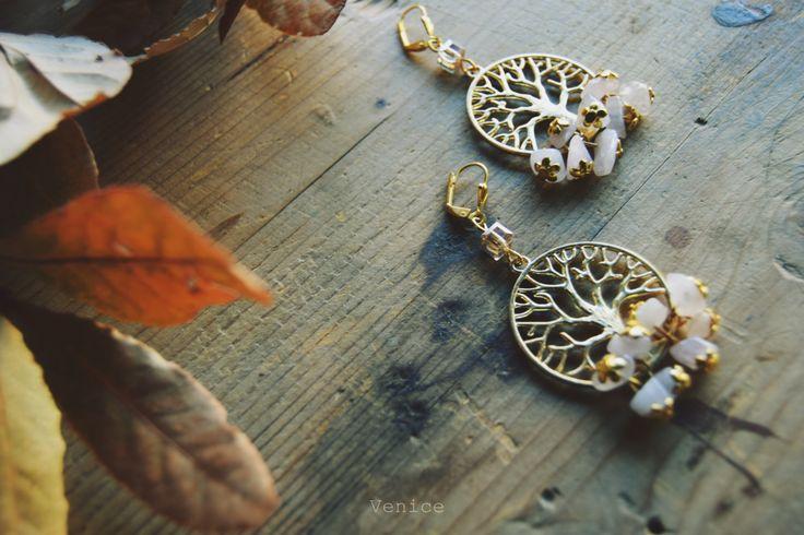 Orecchini pendenti albero della vita/orecchini pietre dure/gioielli pietre dure/gioielli yoga/gioielli meditazione/orecchini perno/regalo di VeniceStyle su Etsy