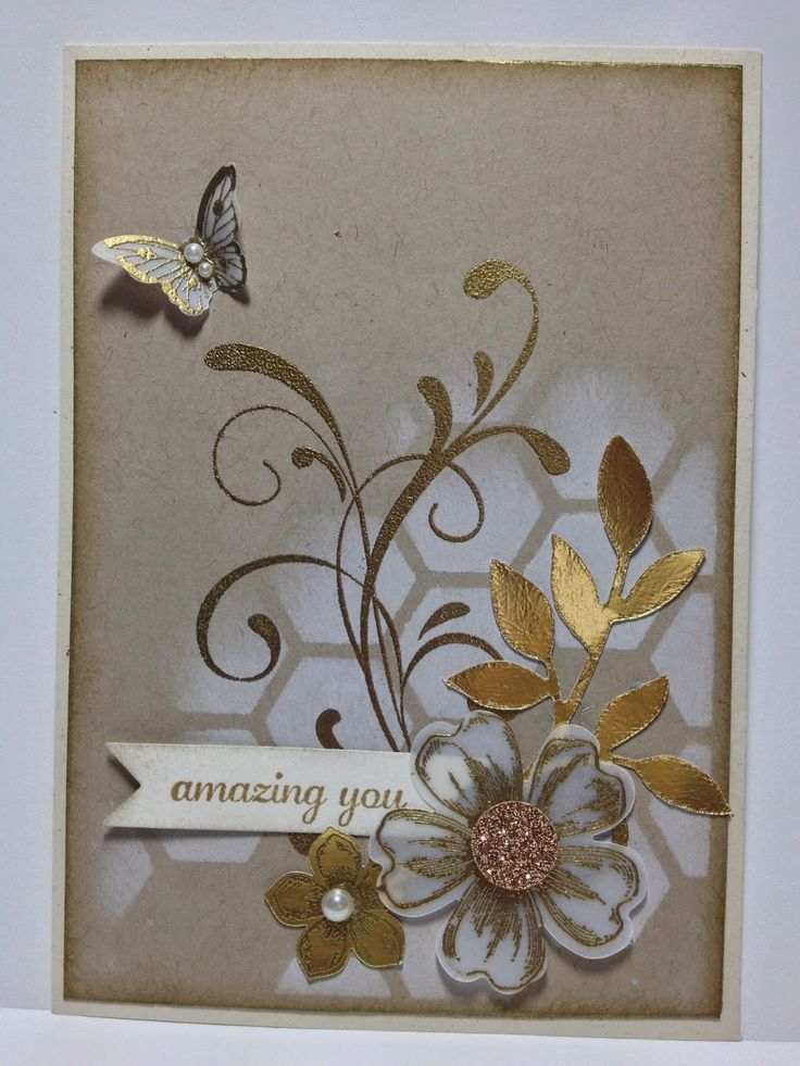 handmade card ... kraft base with gold and vellum ... luv the gold embossed vellum flower and butterfly ... montage on stenciled hexagon grid ... golden flourishes and die cut leaves ... beautiful card! ... Stampin'Up!