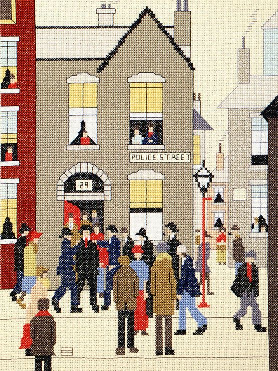 Lowry - The Arrest Cross Stitch Kit £26.26 | Past Impressions | Bothy Threads