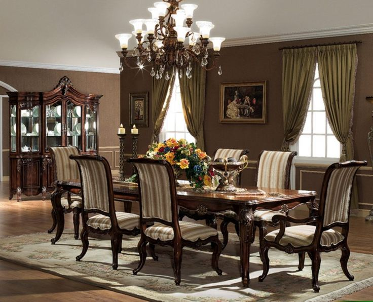 Dining Room Modern Brown Dining Room Sets Have Dining Table Sets 6 Chairs Long Table With Flower Vase And Candle Lamp On The Table Top Under Chandelier Around Brown Painted Wall Decor Tips in Searching for Discount Dining Room Sets