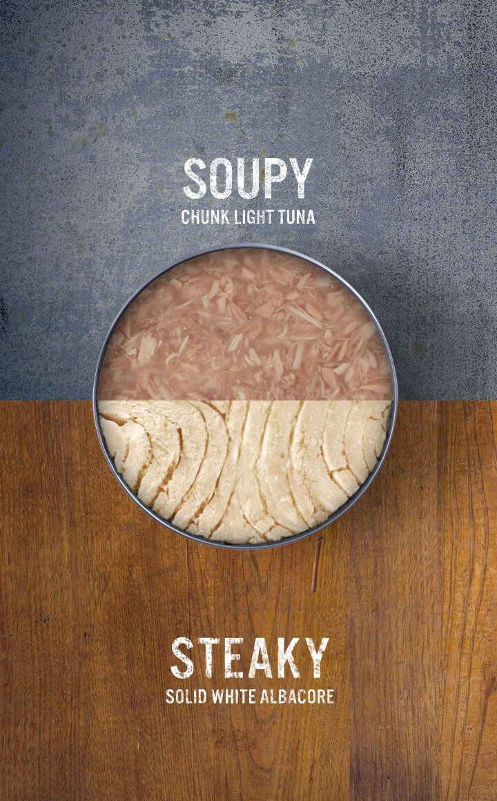 "Ditch chunk light tuna and go from ""Soupy"" to ""Steaky!"" Learn the difference between Bumble Bee's Solid White Albacore Tuna and soupy chunk light tuna cans."