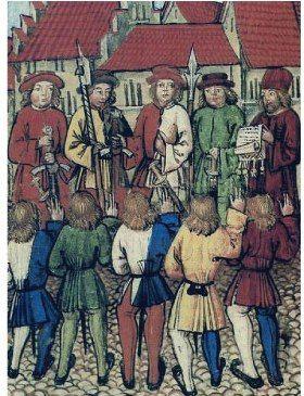 Die Bürger von Zürich leisten den Bundesschwur vor den Abgesandten der vier Waldstätte, 1. Mai 1351
