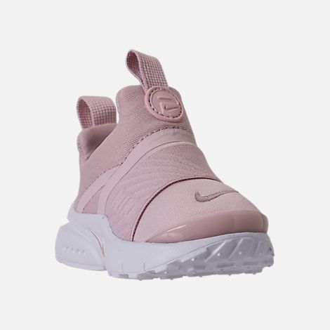 8050a80b3893 Three Quarter view of Girls  Toddler Nike Presto Extreme Running Shoes in  Barely Rose White Black