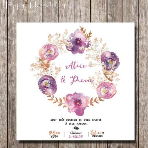 faire_part_mariage_original_couronne_fleurs_aquarelle_violet