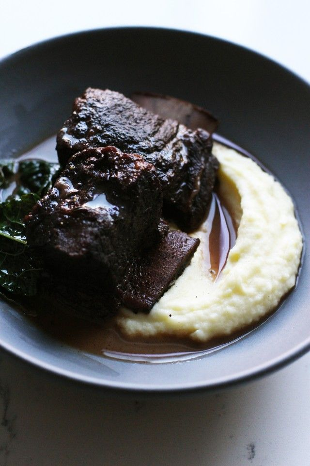 Wine Braised short ribs with mashed potatoes