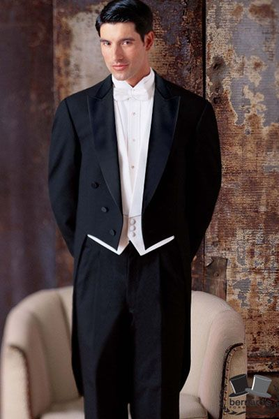 -classic peak fulldress #tuxedo  -white pique shirt, vest and bow  www.bernardsformalwear.com #bernardstux