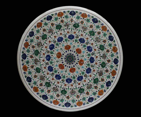 Round Dining Table Marble Inlaid Semiprecious Stone by MARBLEINLAY