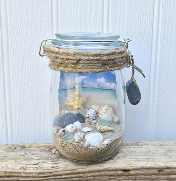 Beach In A Jar with sand shells and seaglass in a medium jar