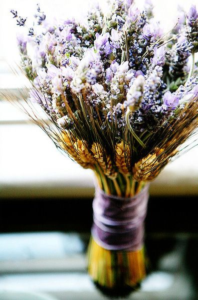 BOUQUET STYLES: hand-tied bundle of lavender and wheat