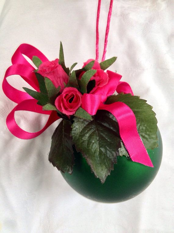 Pink rose and emerald Christmas bauble. on Etsy, $14.95 AUD. Please do not copy as this is an original design.