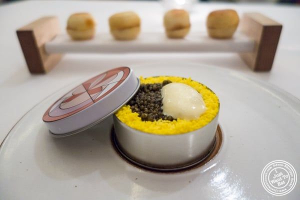Caviar benedict at Eleven Madison Park in NYC, New York