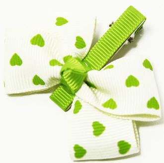 Lime Hearts Ribbon Clippies