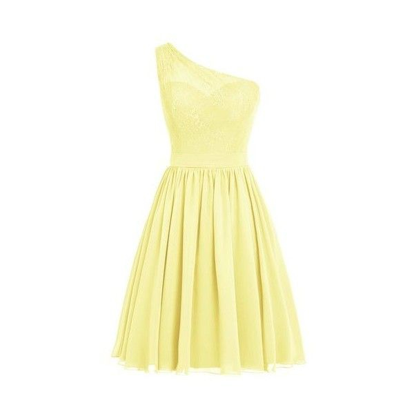 Dresstells? One Shoulder Prom Dress Women's Short Evening Party Dress:... ($73) ❤ liked on Polyvore featuring dresses, short prom dresses, special occasion dresses, cocktail prom dress, one shoulder prom dresses and yellow prom dresses