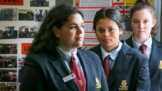 Otorohanga College students, from left, Rhiannon Magee, Tai Jones and Leah Bell are petitioning for a national day to ...