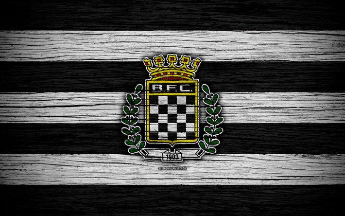 Download wallpapers Boavista, 4k, Portugal, Primeira Liga, soccer, wooden texture, Boavista FC, football club, logo, FC Boavista