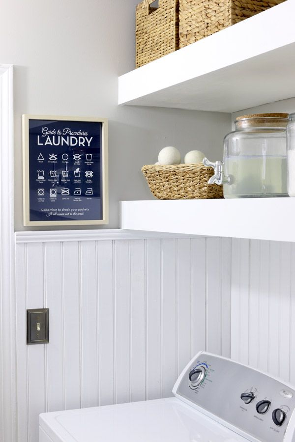 Beadboard Paneling Transforms Laundry Room. Tutorial on How To Install Beadboard Paneling