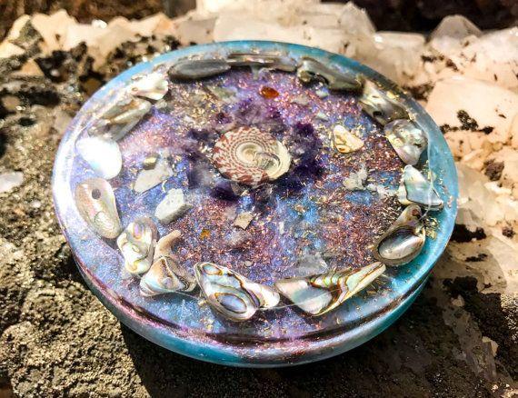 Orgonite Charging Plate ~ Mermaid Muse ~ Meditation Altar Orgone Crystal Charging Plate