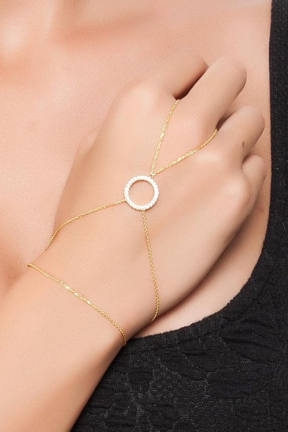 Gold Hand Chain Circle Finger Bracelet by PersonalNecklace