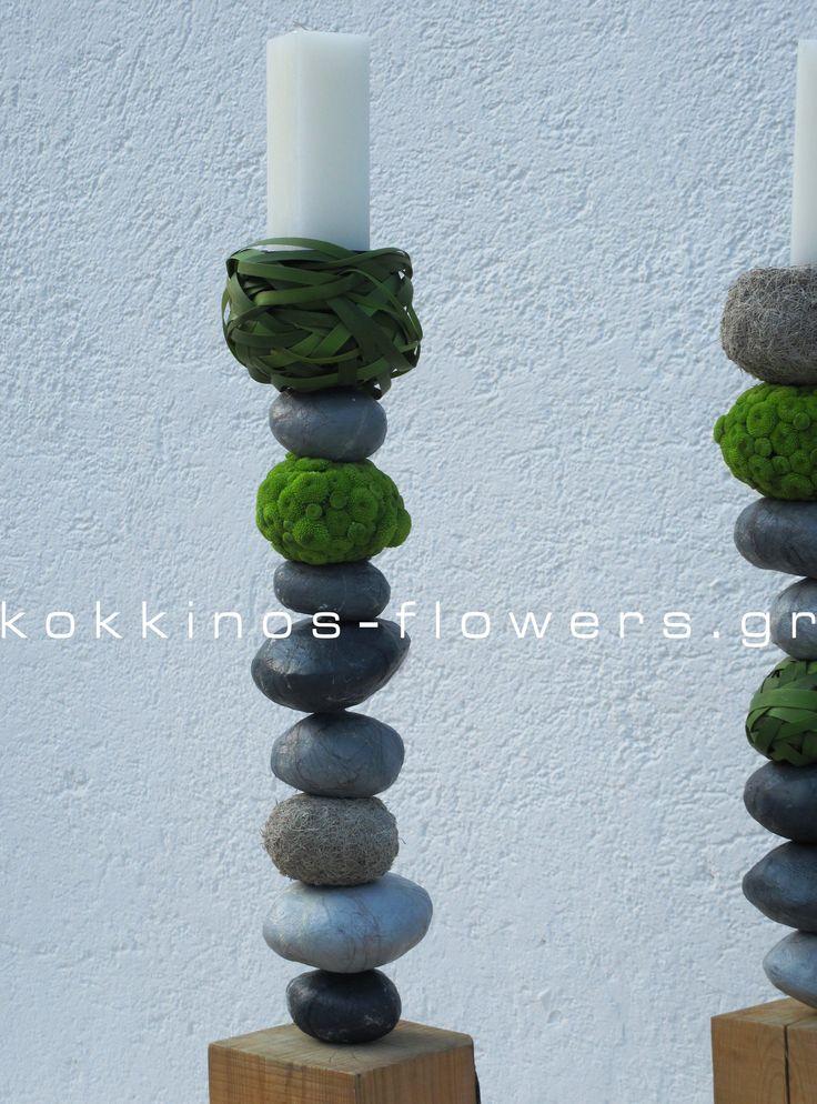 "wedding candles ""pebbles"" Destination wedding - Sifnos Island Παναγιά Χρυσοπηγή"