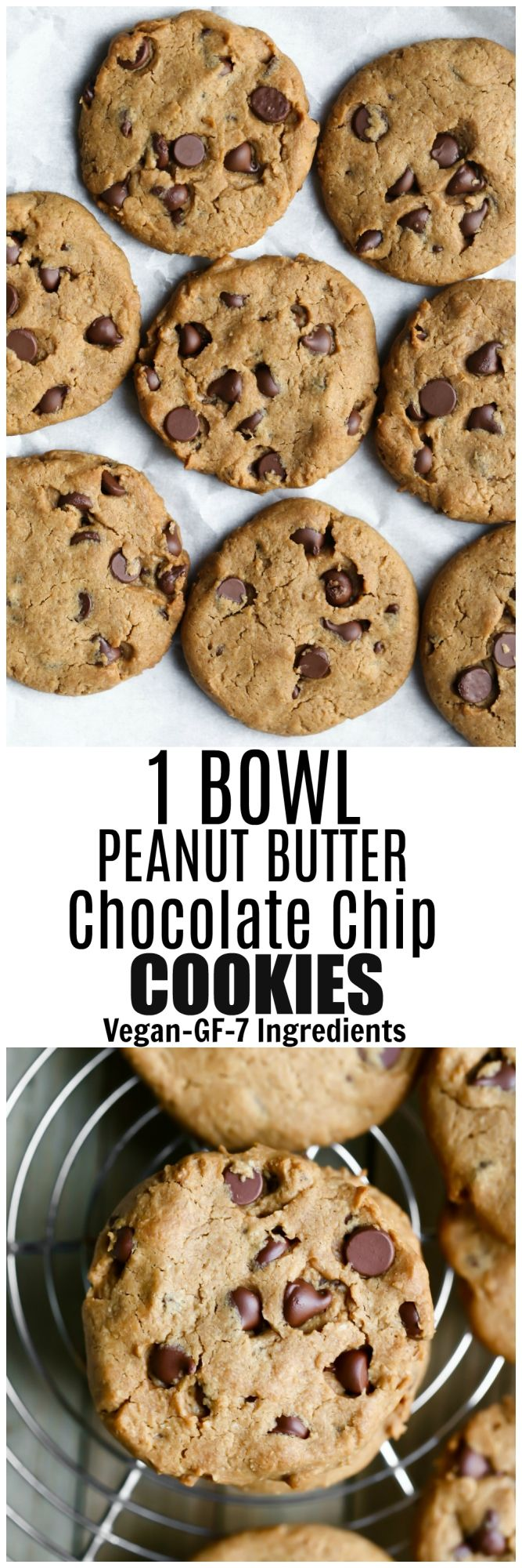 The most delicious and easy Vegan Gluten-free Peanut Butter Chocolate Chip Cookies that are made in 1 bowl, are oil-free, dairy-free and ready in about 20 minutes! via @thevegan8