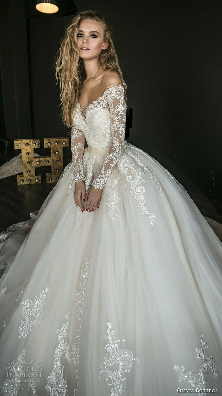 41a4ca50bf5d Lace Bodice | Long Sleeves | V-Neck | Full Tulle Skirt | Wedding Dress