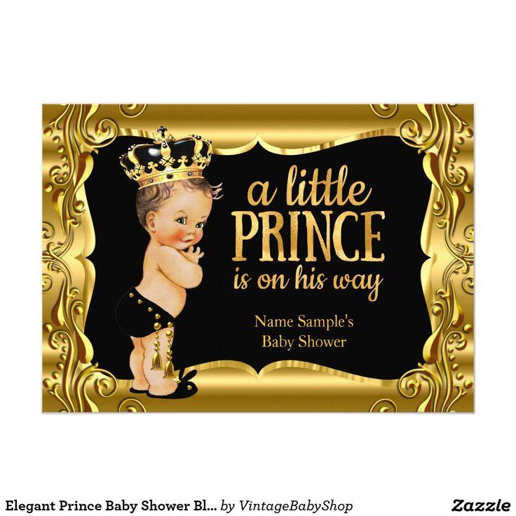 Elegant Prince Baby Shower Black Gold Brunette Card