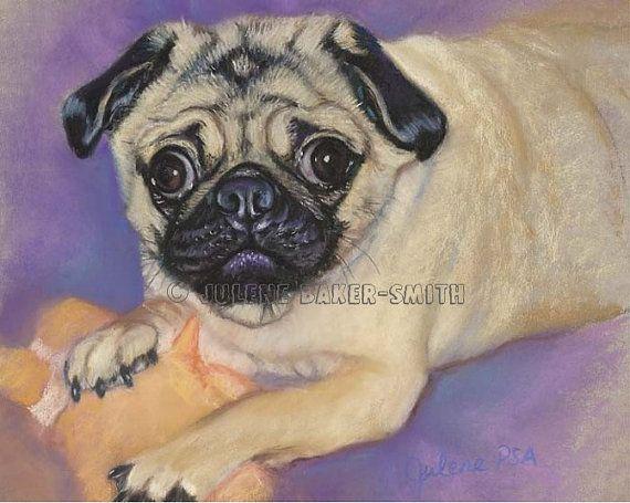Pug at Play Original Pastel Portrait by ArtByJulene on Etsy, $150.00
