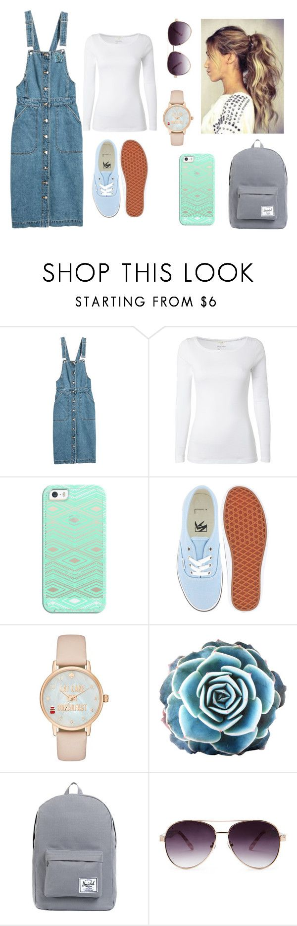 """""""Denim Overalls//Contest"""" by laney-light ❤ liked on Polyvore featuring H&M, White Stuff, Casetify, Vans, Kate Spade, Herschel Supply Co. and Forever 21"""