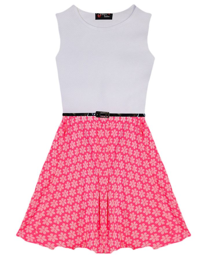 Girls Pink Neon Floral Skater Dress Belted Party Dresses New Age 7 - 13 Years es.picclick.com