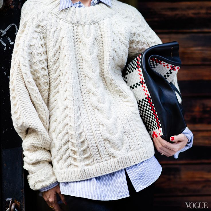 The market tote made ultra ultra! Forgo the groceries and clutch it like a football.Céline tote, $4,100Bergdorf Goodman, NYC, 212.753.7300Dries Van Noten shirt, The Row sweater, J Brand jeans