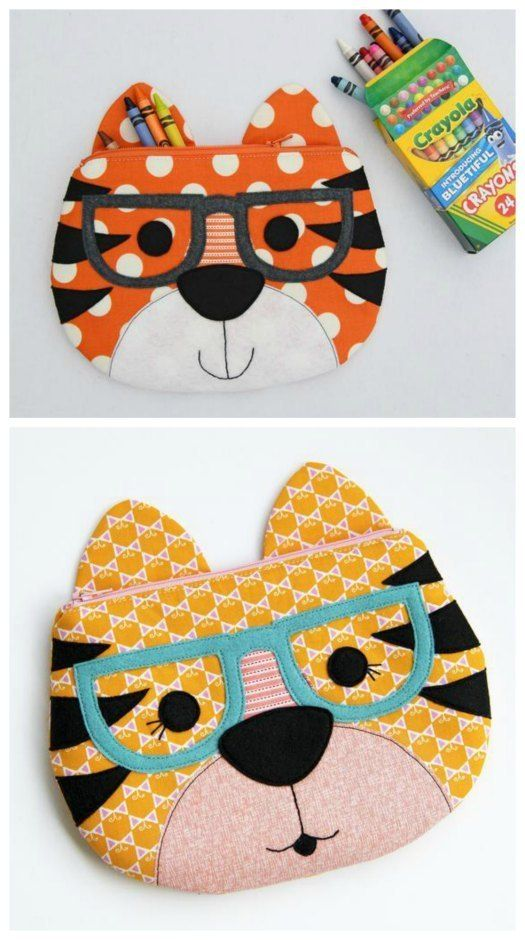 Tiger zipper pouch sewing pattern. Sew a tiger with or without glasses, or leave…