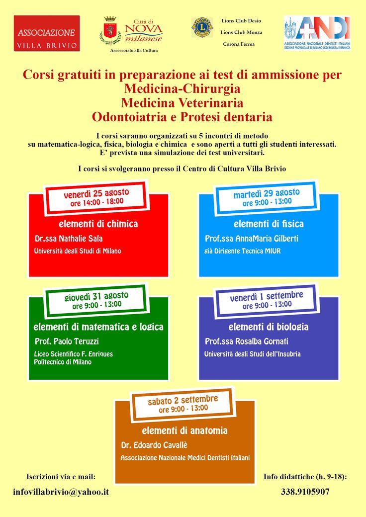Corsi gratuiti in preparazione ai test di ammissione per Medicina-Chirurgia Medicina Veterinaria Odontoiatria e Protesi dentaria