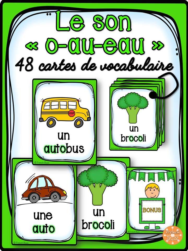 """48 cartes de vocabulaire avec des mots contenant le son """"o"""", """"au"""", """"eau"""". Ces cartes peuvent être utilisées dans des jeux de lecture ou comme référentiel pour ce son"""