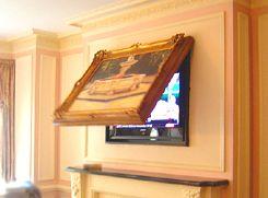 Hide tv behind painting or mirror