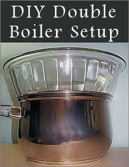 Homemade Double Boiler In A Pinch: {How-To}  Do you want to try a recipe that requires a double boiler but don't have one tucked away in your cupboards? Here's a simple substitute you can make yourself and the items required are likely at your fingertips already…  What you'll need:  Small to medium-sized pot  Ovenproof (Pyrex) glass bowl that will fit inside the pot without resting at the bottom  *You could also use a stainless steel bowl