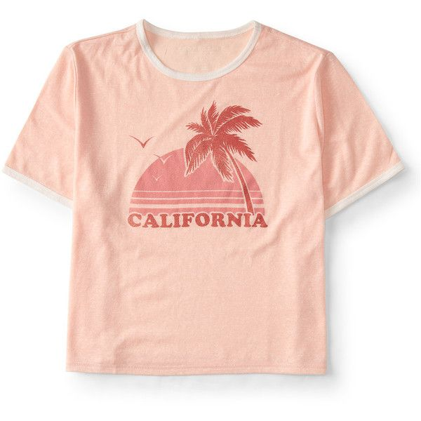 Aeropostale California Crop Graphic T (€9,20) ❤ liked on Polyvore featuring tops, t-shirts, earthly, graphic design t shirts, red top, aeropostale t shirts, red tee and summer crop tops
