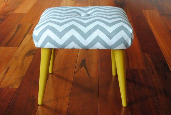 Chevron fabric #footstool