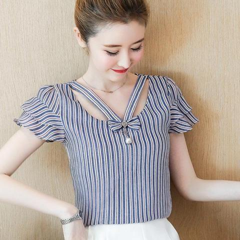 9f0cb21331dfd6 Women Summer Chiffon Blouse Shirt Blouses 2018 Fashion Elegant Hollow  Stripes Shirts Short Sleeve Office Ladies Tops Plus Size