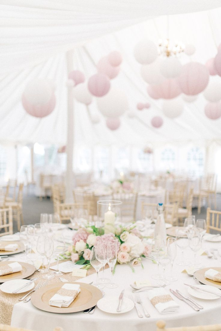 An outdoor wedding with Lyn Ashworth gown with pastel pink and gold colour scheme, stately home venue with marquee reception. Photography by Sarah-Jane ethan