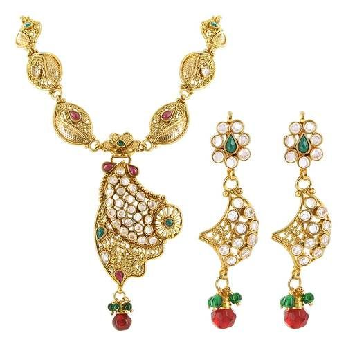 "Gold Plated Multicolor 1.7"""" Earrings 31"""" Long Bollywood Indian Necklace Jewelry Set #JS001"
