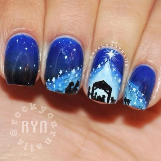 mis uñas en Navidad