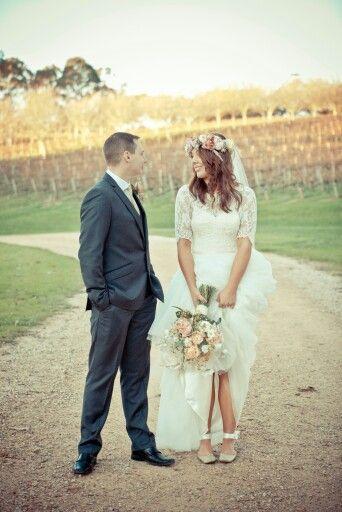 Caleche dress, wedding, bride and groom