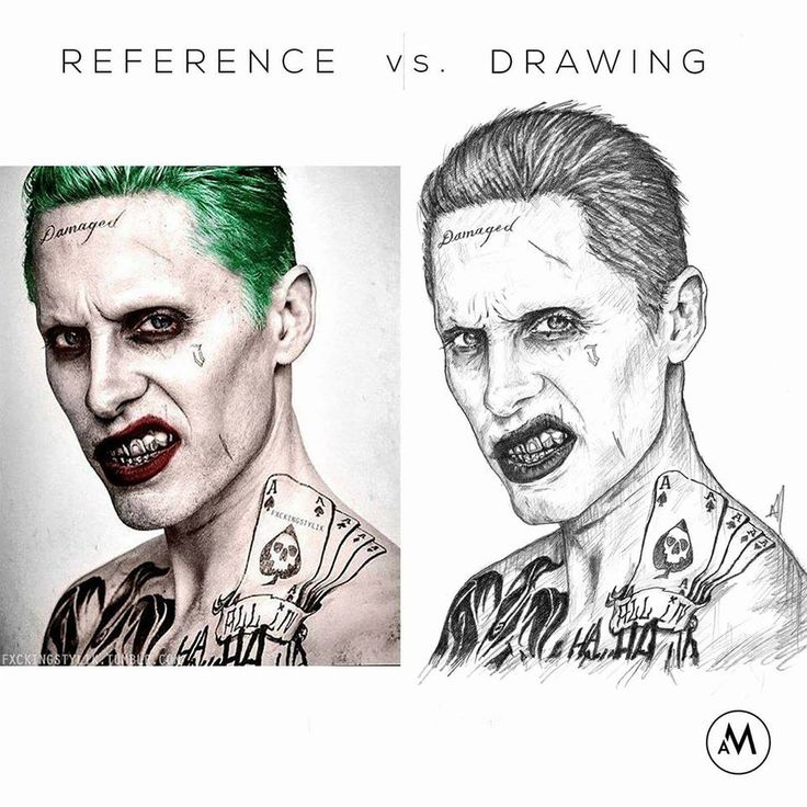 "REFERENCE VS DRAWING ""I can't wait to show you my toys."" - Jared Leto as Joker. from the film Suicide Squad. • Graphite pencils on 8 1/4"" x 11"" sketch pad. ► Get my app for exclusive content! ""Aaron Manriquez Illustration"" Now on Play Store & App Store • facebook.com/aaronm.illustration • instagram.com/aaronmanriquez.illustration • twitter.com/am_illustra ▲ Online shop at society6.com/aaronmanriquez"