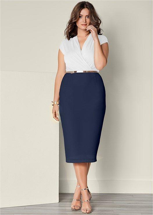 f8e17d809a4 Venus Women s Plus Size Mixed Media Dress - Blue white