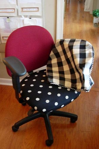 The fabric is fun in the photo,but any fabric would work. How to slip cover an office chair!