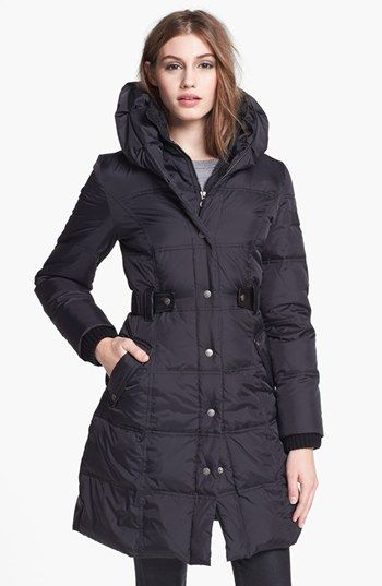 DKNY Faux Leather Trim Quilted Coat (Online Only) | Nordstrom