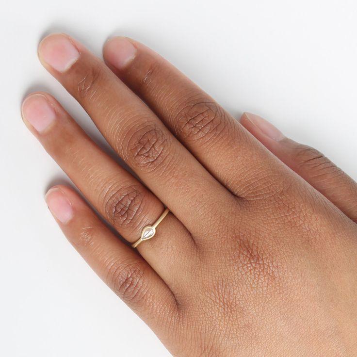 Teardrop Diamond Ring - Engagement Rings - Catbird